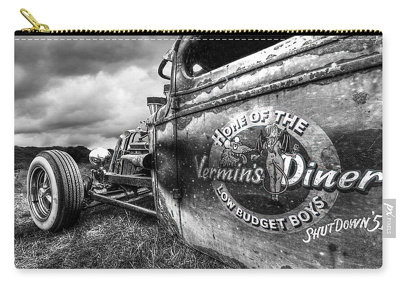 Vermins Diner Carry-all Pouch featuring the photograph Vermin's Diner Rat Rod In Black And White by Gill Billington