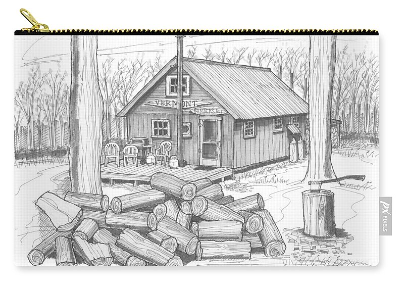 Hunting Carry-all Pouch featuring the drawing Vermont Hunter Lodge by Richard Wambach