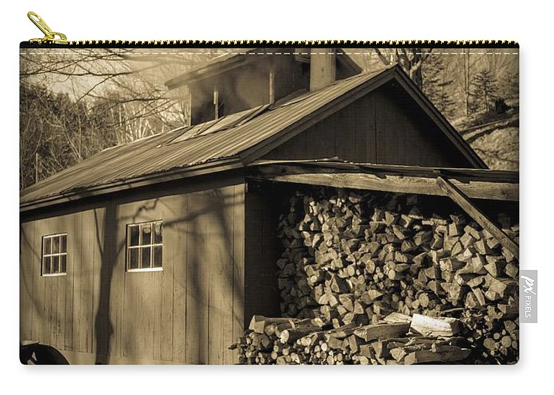 Maple Carry-all Pouch featuring the photograph Vermont Maple Sugar Shack Circa 1954 by Edward Fielding