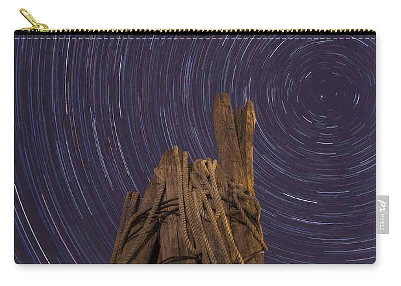Vermont Carry-all Pouch featuring the photograph Vermont Night Star Trail Wood Pier by Andy Gimino