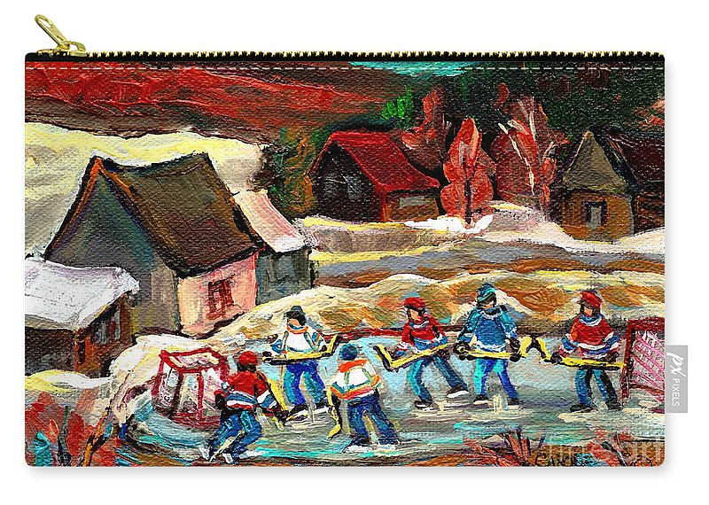 Vermont Carry-all Pouch featuring the painting Vermont Pond Hockey Scene by Carole Spandau