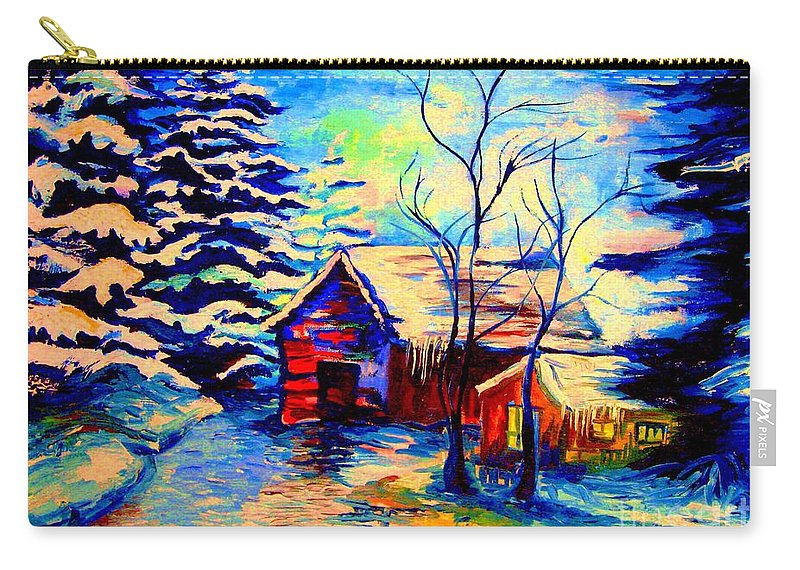 Vermont Winterscenes Carry-all Pouch featuring the painting Vermont Winterscene In Blues By Montreal Streetscene Artist Carole Spandau by Carole Spandau