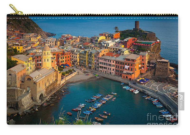 Cinque Terre Carry-all Pouch featuring the photograph Vernazza Pomeriggio by Inge Johnsson