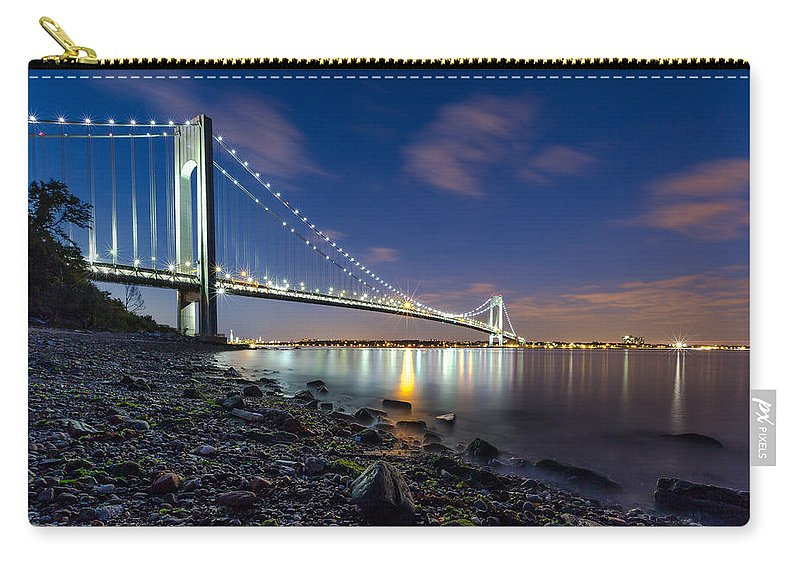 Night Carry-all Pouch featuring the photograph Verrazano-narrows Bridge by Valeriy Shvetsov
