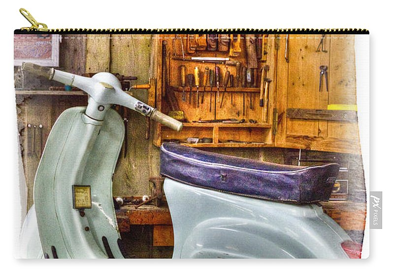 Vespa_scooter Carry-all Pouch featuring the photograph Vespa Scooter by Heiko Koehrer-Wagner