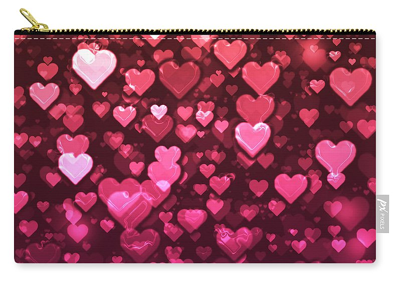 Bokeh Carry-all Pouch featuring the digital art Vibrant Pink And Red Bokeh Hearts by Shelley Neff