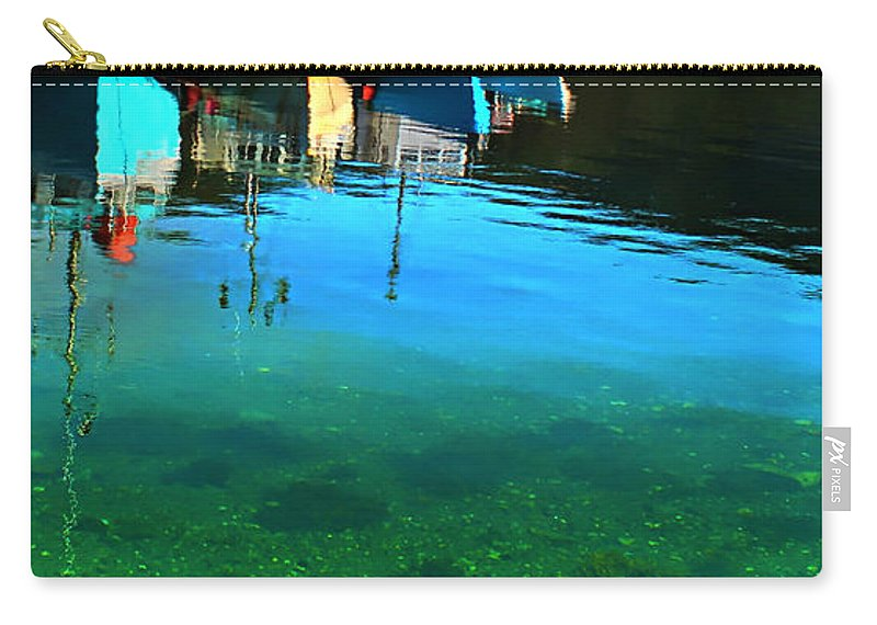 Vibrant Reflections Carry-all Pouch featuring the photograph Vibrant Reflections -water - Blue by Barbara Griffin