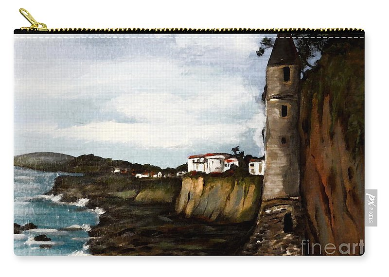 Canvas Carry-all Pouch featuring the painting Victoria Beach Laguna Beach by Valarie Pacheco