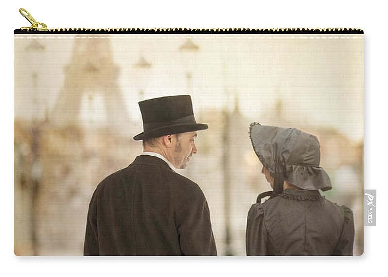 Victorian Carry-all Pouch featuring the photograph Victorian Couple In Paris by Lee Avison