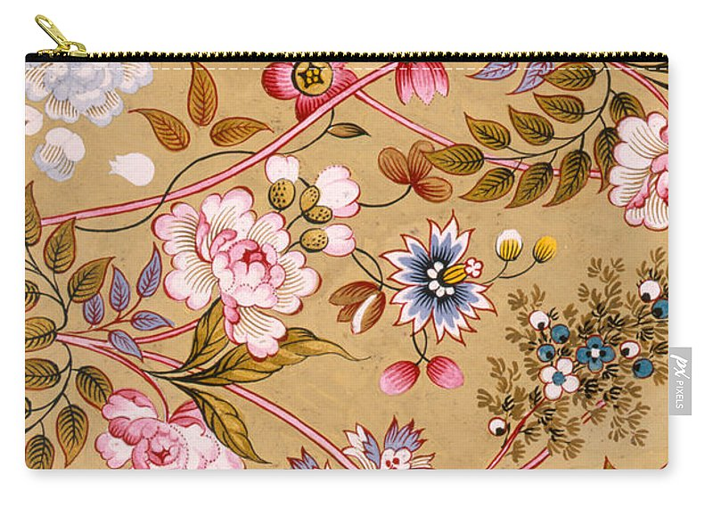 Textile Carry-all Pouch featuring the painting Victorian Floral Pattern Phone Case by English School