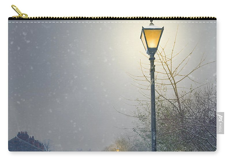 Street Carry-all Pouch featuring the photograph Victorian Gas Lamp In Winter by Lee Avison
