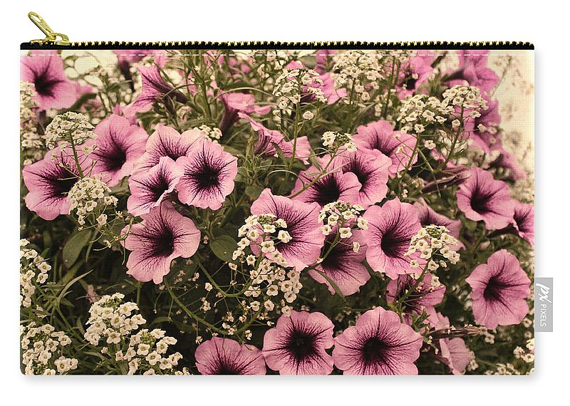 Pink Petunia Carry-all Pouch featuring the photograph Victorian Lace by Sylvia Thornton