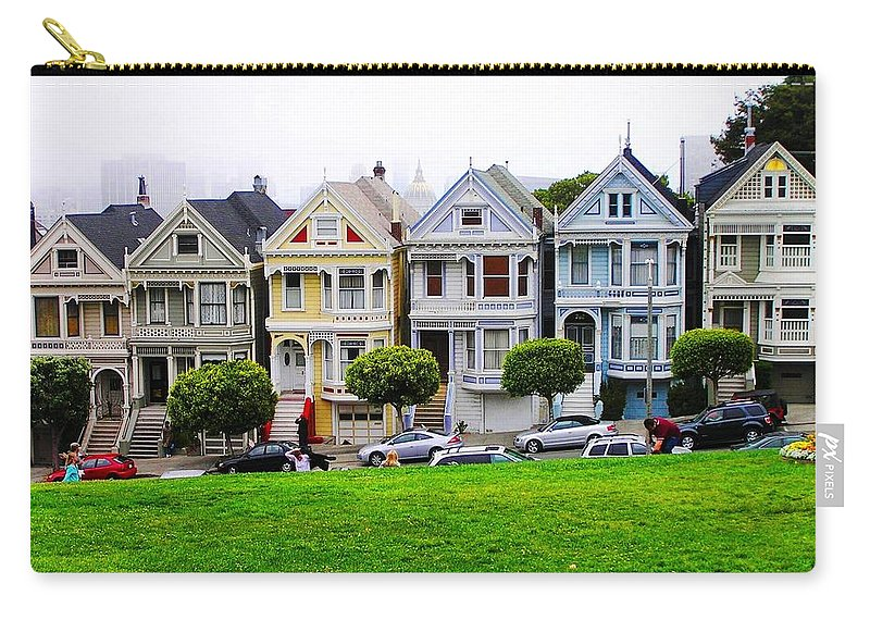 Victorian Style Street Carry-all Pouch featuring the photograph San Francisco Architecture by Oleg Zavarzin