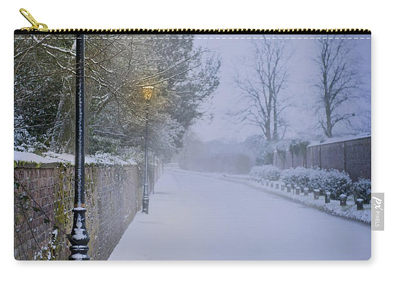 Winter Carry-all Pouch featuring the photograph Victorian Winter Street Scene by Lee Avison