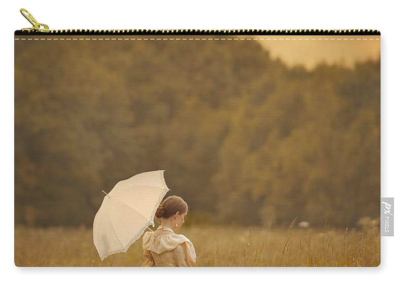Victorian Carry-all Pouch featuring the photograph Victorian Woman In A Summer Meadow by Lee Avison