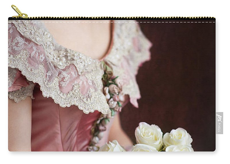 Victorian Carry-all Pouch featuring the photograph Victorian Woman With Roses by Lee Avison