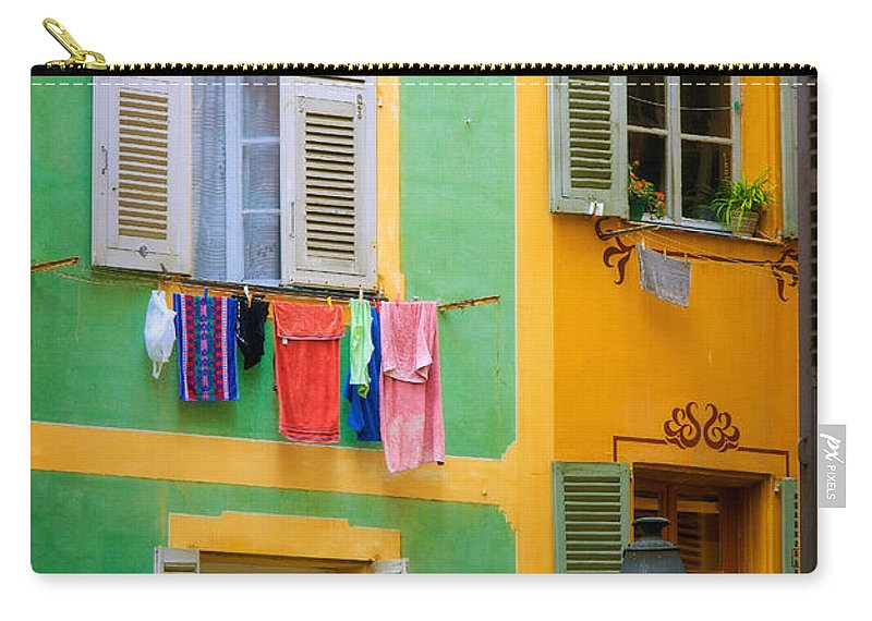 Cote D'azur Carry-all Pouch featuring the photograph Vieille Ville Windows by Inge Johnsson