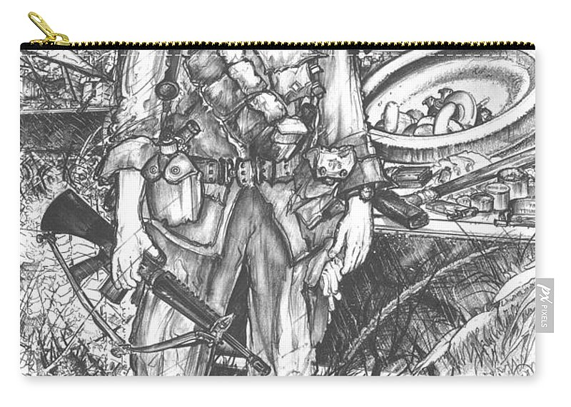 Soldier Carry-all Pouch featuring the drawing Vietnam Soldier by Scott and Dixie Wiley