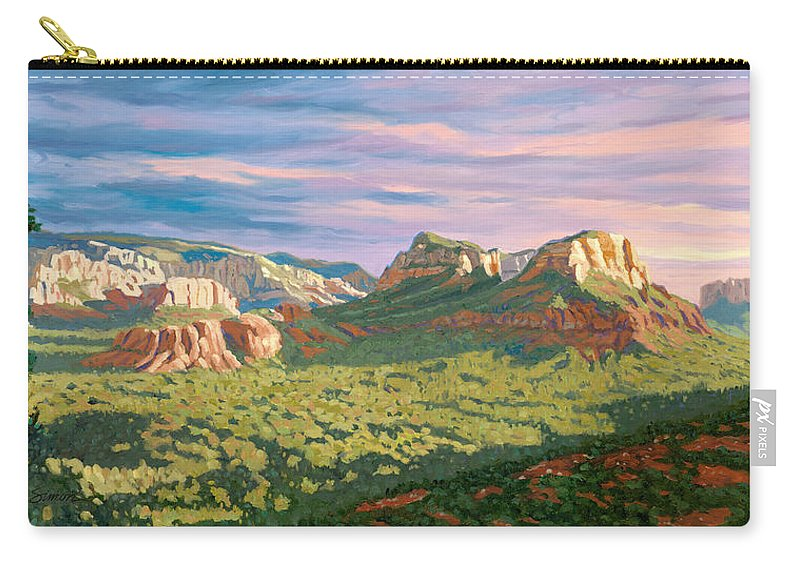 Sedona Carry-all Pouch featuring the painting View From Airport Mesa - Sedona by Steve Simon