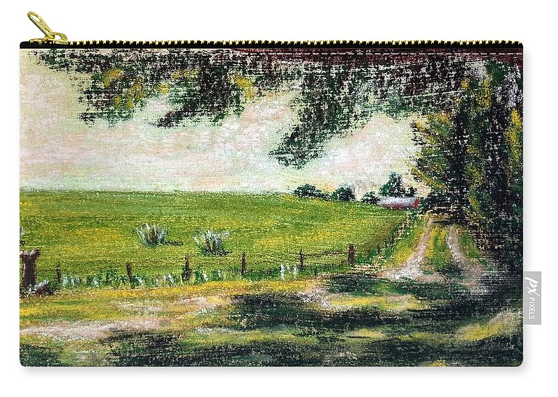 Meadow Carry-all Pouch featuring the painting View From The Shade 2 by Brenda Stevens Fanning