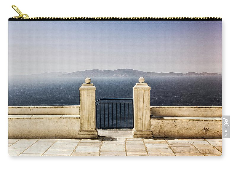 Tranquility Carry-all Pouch featuring the photograph View From Tinos by Photography Of Beauty And Mystery