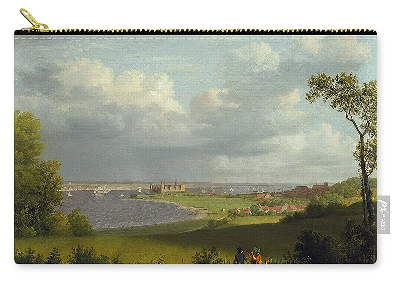Christoffer Wilhelm Eckersberg Carry-all Pouch featuring the painting View North Of Kronborg Castle by Christoffer Wilhelm Eckersberg