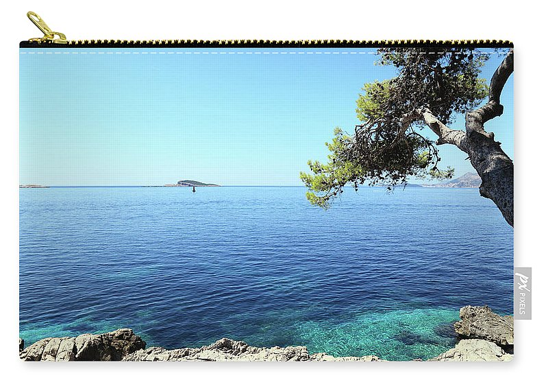 Water's Edge Carry-all Pouch featuring the photograph View Of Dubrovnik From Cavtat Peninsula by Vuk8691
