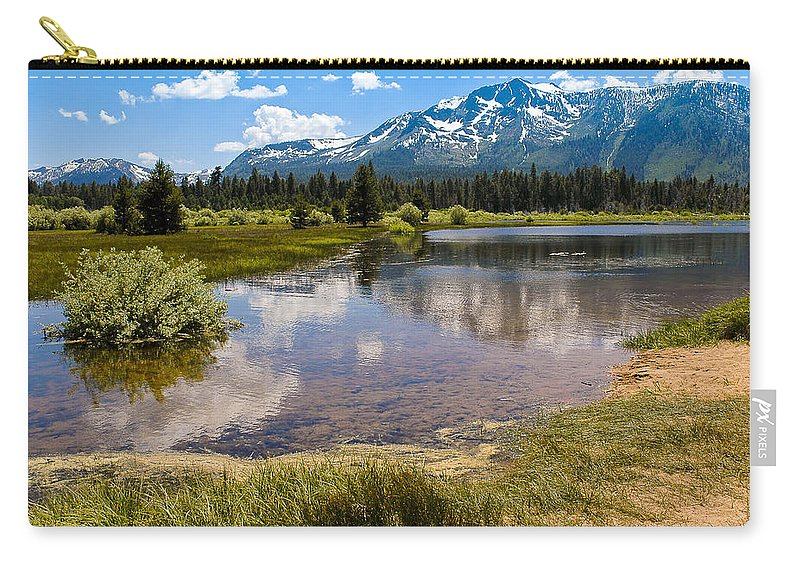 Usa Carry-all Pouch featuring the photograph View Of Mount Tallac From Taylor Creek Beach Lake Tahoe by LeeAnn McLaneGoetz McLaneGoetzStudioLLCcom