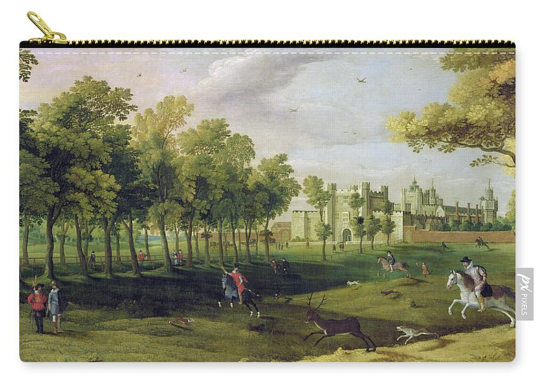 Stag Hunt Carry-all Pouch featuring the painting View Of Nonsuch Palace In The Time by Flemish School