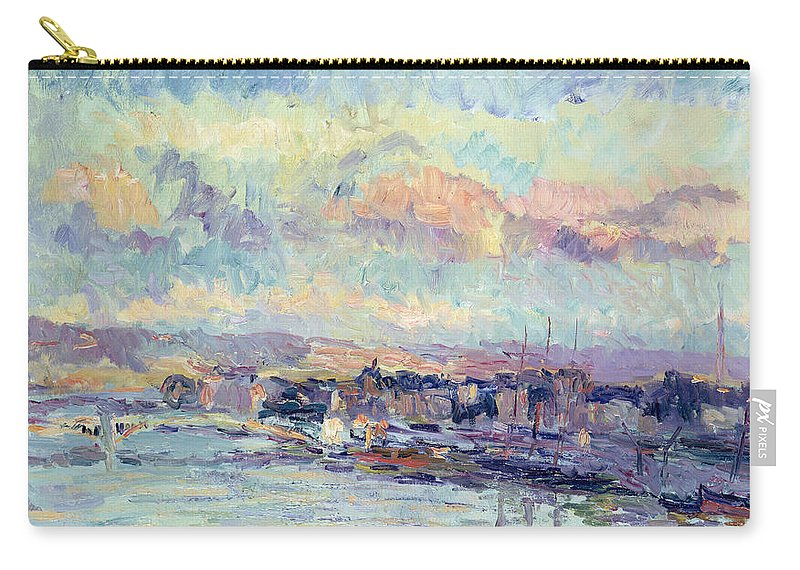 Impressionist Carry-all Pouch featuring the painting View Of Paris by Albert Charles Lebourg