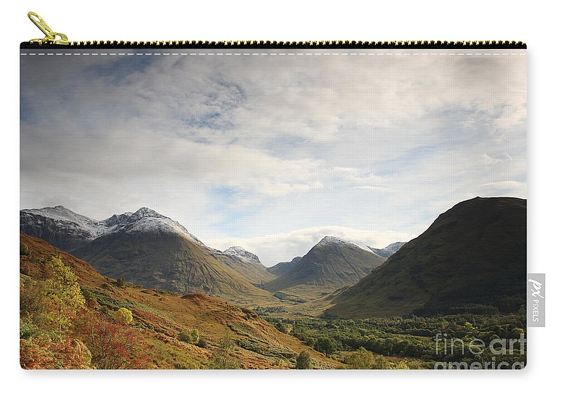 Blue Carry-all Pouch featuring the photograph View Of The Glencoe Mountains by Deborah Benbrook
