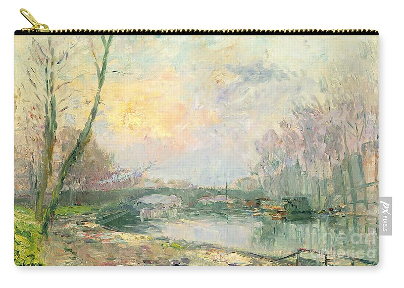 River Carry-all Pouch featuring the painting View Of The Seine Paris by Albert Charles Lebourg