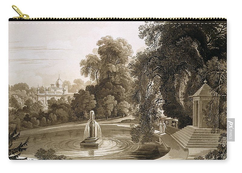 English Architecture Carry-all Pouch featuring the drawing View Of The Temple Of Suryah by John Martin