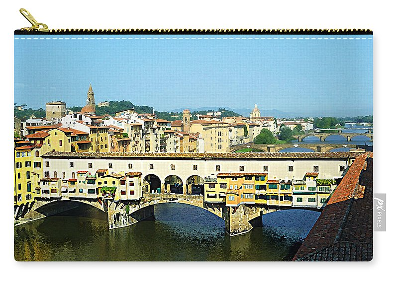 Italy Carry-all Pouch featuring the photograph View On Ponte Vecchio From Uffizi Gallery by Irina Sztukowski
