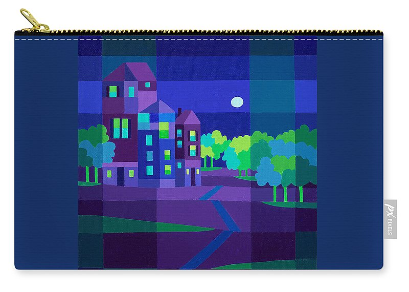 Landscape Carry-all Pouch featuring the painting Villa Night by Michael Jernegan