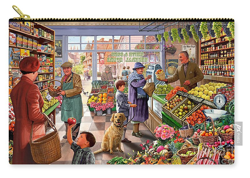 Fruit And Veg Carry-all Pouch featuring the digital art Village Greengrocer by Steve Crisp