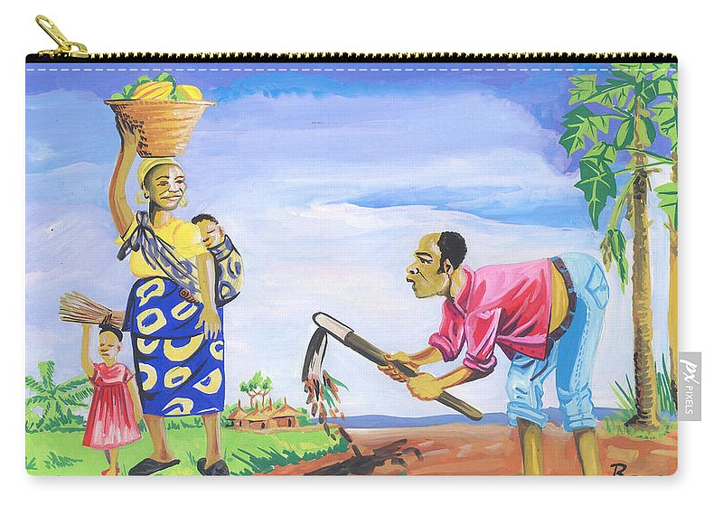 African Art Carry-all Pouch featuring the painting Village Life In Cameroon 01 by Emmanuel Baliyanga