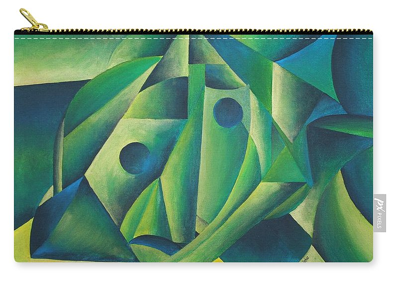 Abstract Carry-all Pouch featuring the painting Village Woman Wearing A Headscarf by Taiche Acrylic Art