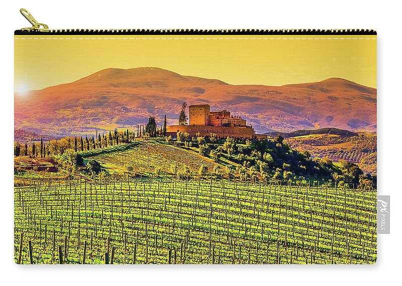 Scenics Carry-all Pouch featuring the photograph Vineyard In Tuscany by Deimagine