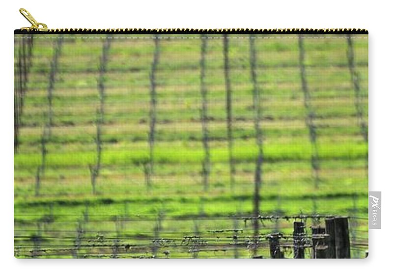 Anne Carry-all Pouch featuring the photograph Vineyard Poles 23051 2 by Jerry Sodorff