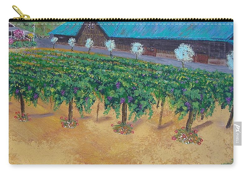 Landscapes Carry-all Pouch featuring the painting Vineyard Sunset by Scott Phillips