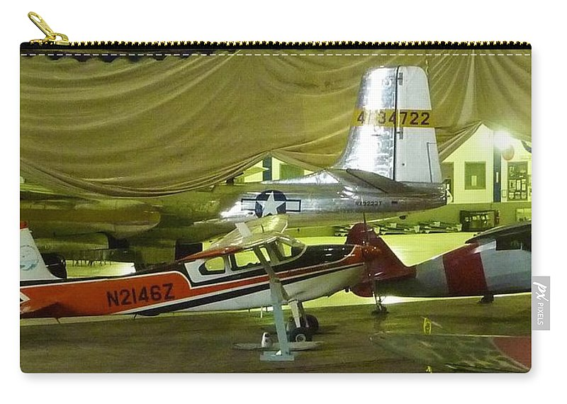 Vintage Airplanes On Display Carry-all Pouch featuring the photograph Vintage Airplanes Display by Susan Garren
