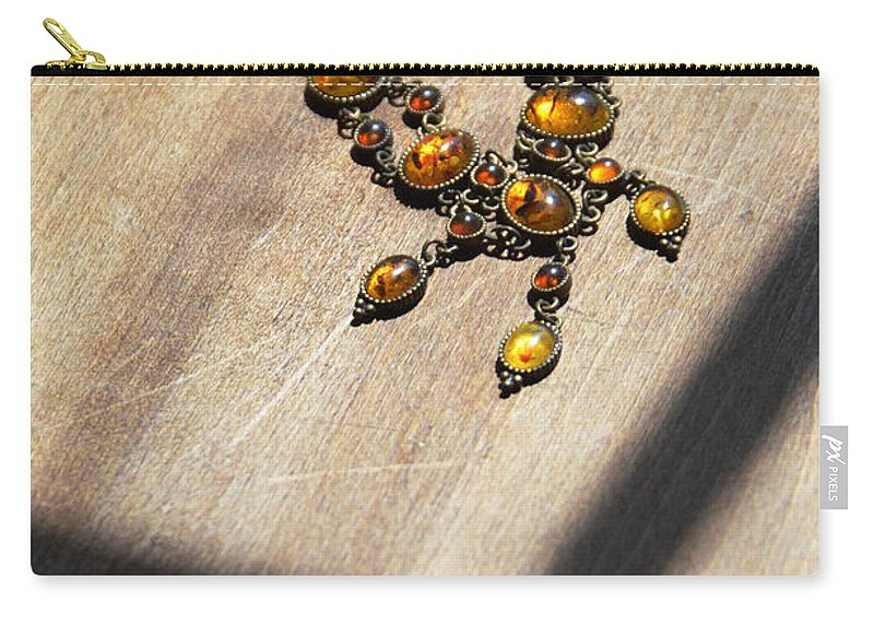 Necklace Carry-all Pouch featuring the photograph Vintage Amber Necklace by Jill Battaglia