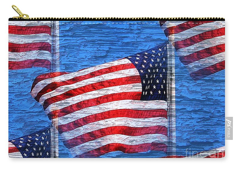 Flag Carry-all Pouch featuring the photograph Vintage Amercian Flag Abstract by Judy Palkimas