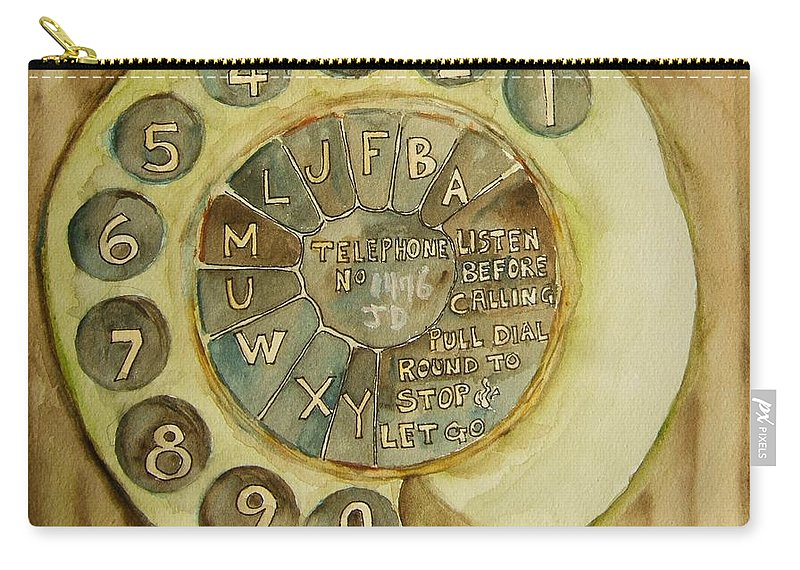 Telephone Carry-all Pouch featuring the painting Vintage Aussie Rotary by Elaine Duras