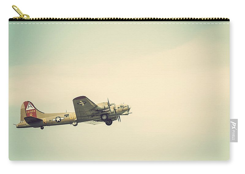 Vintage B-17 Flying Fortress Carry-all Pouch featuring the photograph Vintage B-17 Flying Fortress by Terry DeLuco