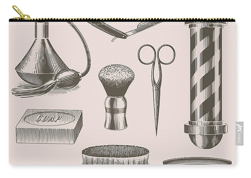 English Culture Carry-all Pouch featuring the digital art Vintage Barbershop Objects by Darumo