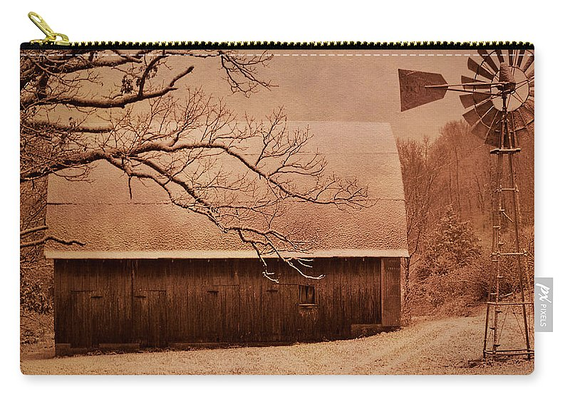 Barn Carry-all Pouch featuring the photograph Vintage Barn And Windmill Winter by Deena Stoddard