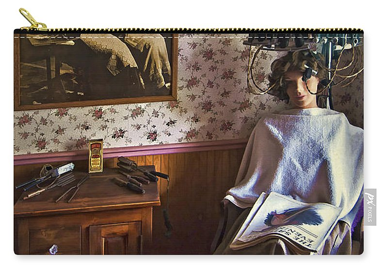 Vintage Beauty Parlor Carry-all Pouch featuring the photograph Vintage Beautification by Priscilla Burgers