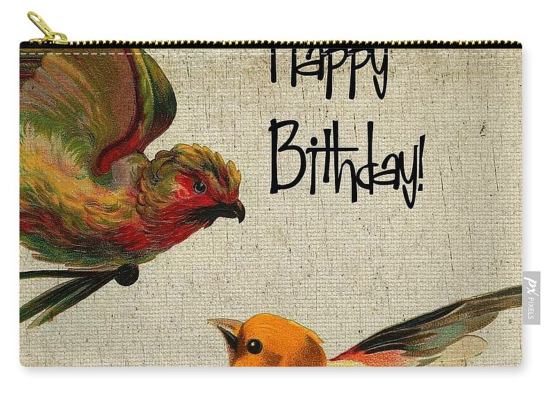 Birds Carry-all Pouch featuring the digital art Vintage Birthday Birds by Cassie Peters